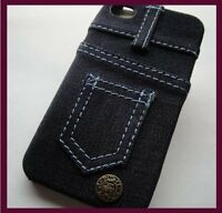for iPhone 4 4G 4S Navy Blue Denim Jean Style Pocket Hard Fabric Feel Case Cover