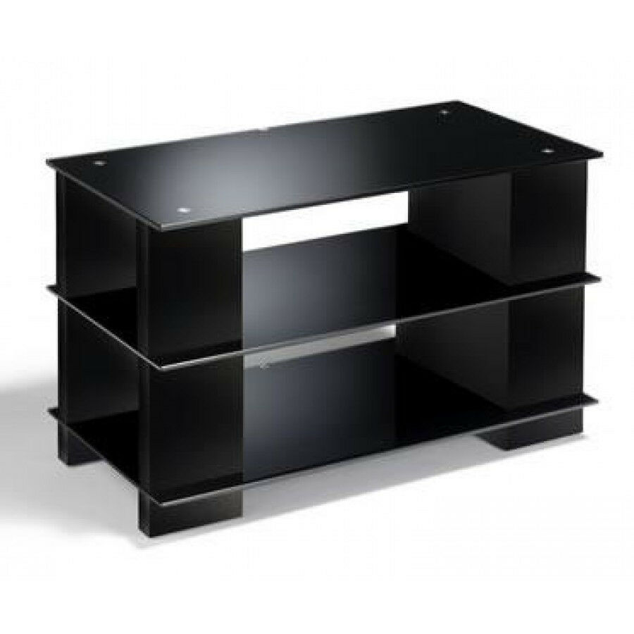 Tv stand black glass cd dvd storage black wood open for Tv media storage cabinet