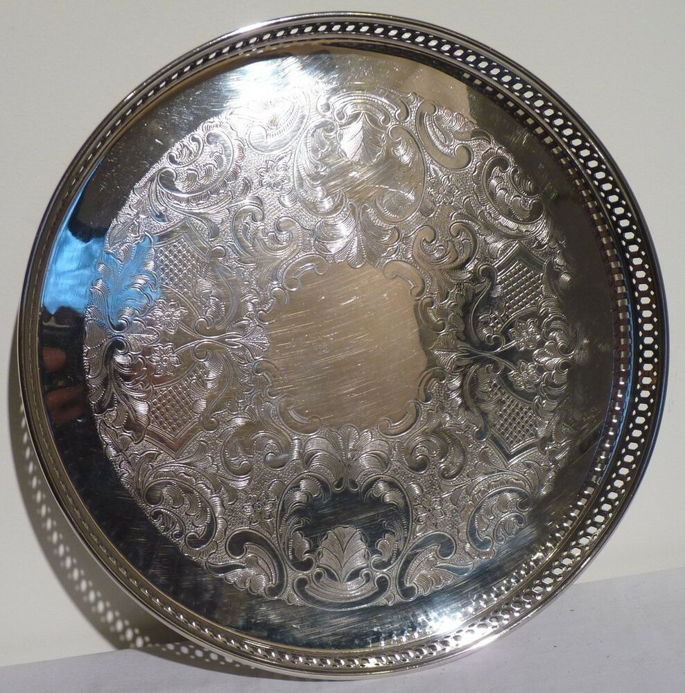 Silver Plate Round 12 1 4 Quot Pierced Scroll Design Galley Serving Tray Marlboro Ebay