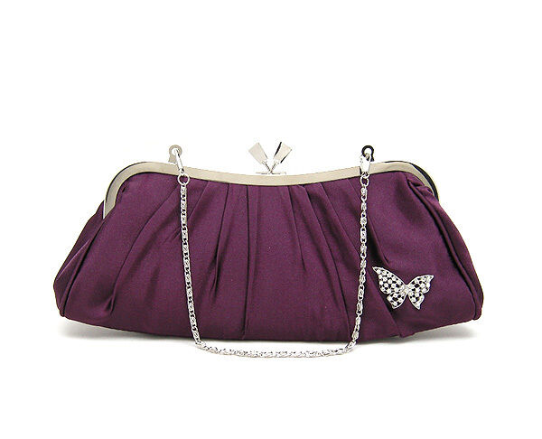 UK Satin Diamonate Butterfly Evening Prom Clutch Wedding Bridal Bag Purse 16b | EBay