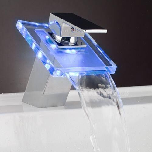 New 3 Colors Changing Water Power Bathroom Led Light Waterfall Faucet Ebay