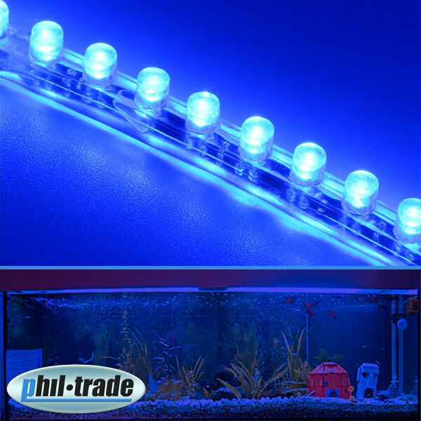 72cm 72 led leiste streifen blau lichtleiste wasserdicht aquarium mondlicht ebay. Black Bedroom Furniture Sets. Home Design Ideas