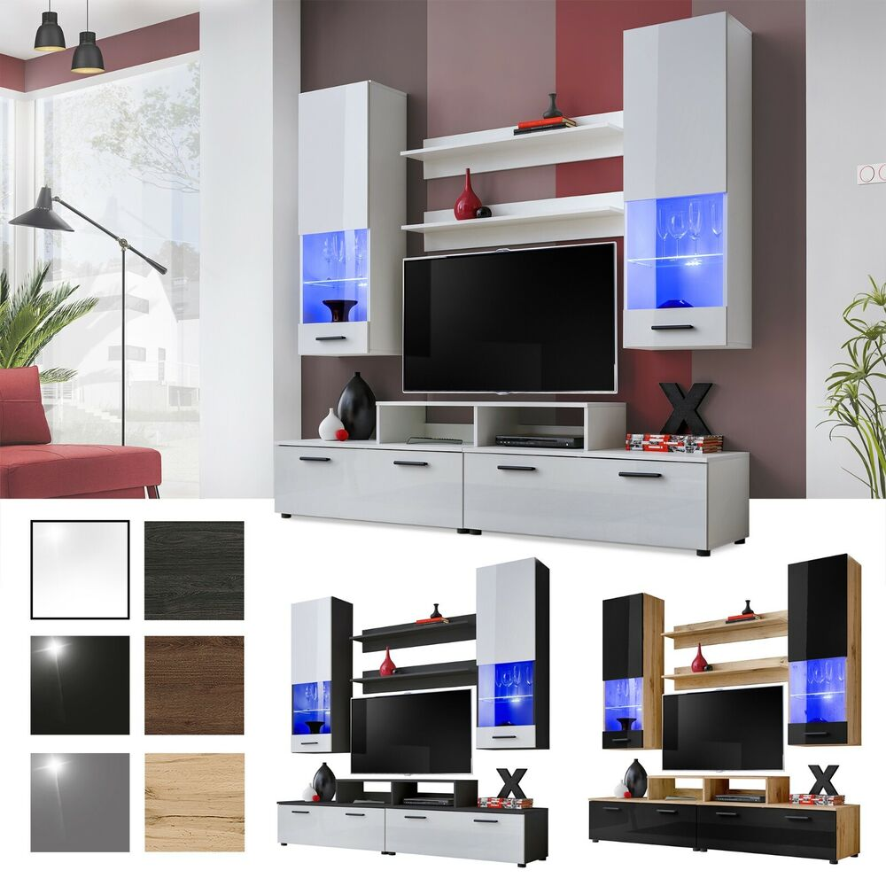 Living room tv set furniture cabinet wall unit modern - What size tv to get for living room ...