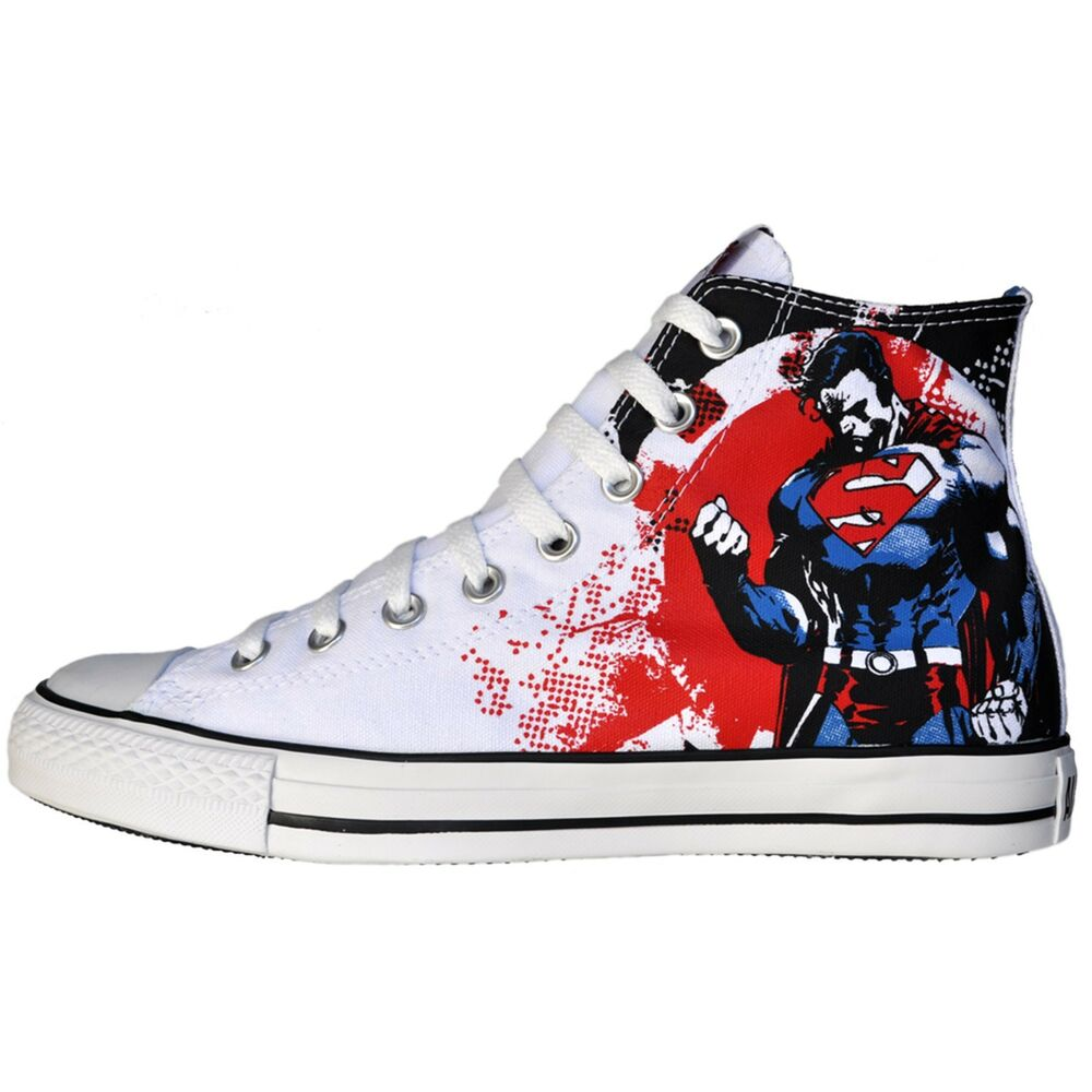 converse schuhe all star chucks uk 10 eu 44 superman weiss rot marvel dc comic ebay. Black Bedroom Furniture Sets. Home Design Ideas