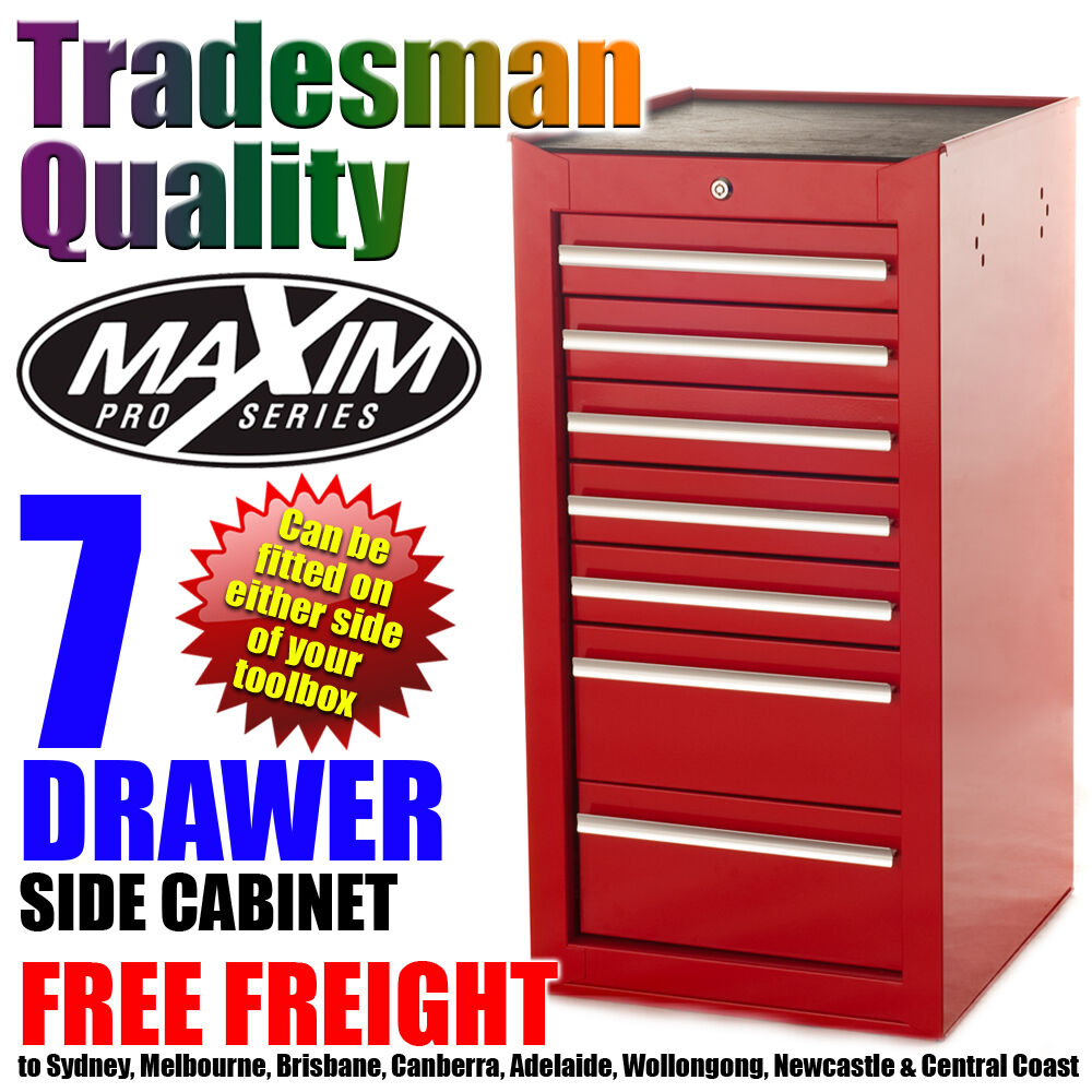 MAXIM 7 Drawer Side Cabinet Tool Box Chest Toolbox Storage ...