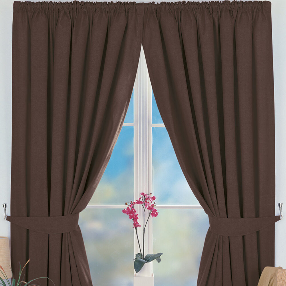 Eclipse 3 Tape Pencil Pleat Thermal Blackout Choc Curtains W46 66 90 D54 72 Ebay