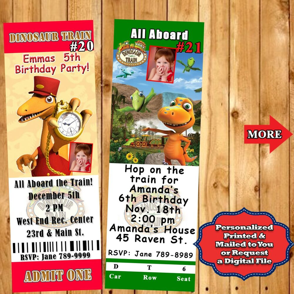 Details About Dinosaur Train Birthday Invitations 10 Ea Or Thank U Candy Bar Wrapper Perszd