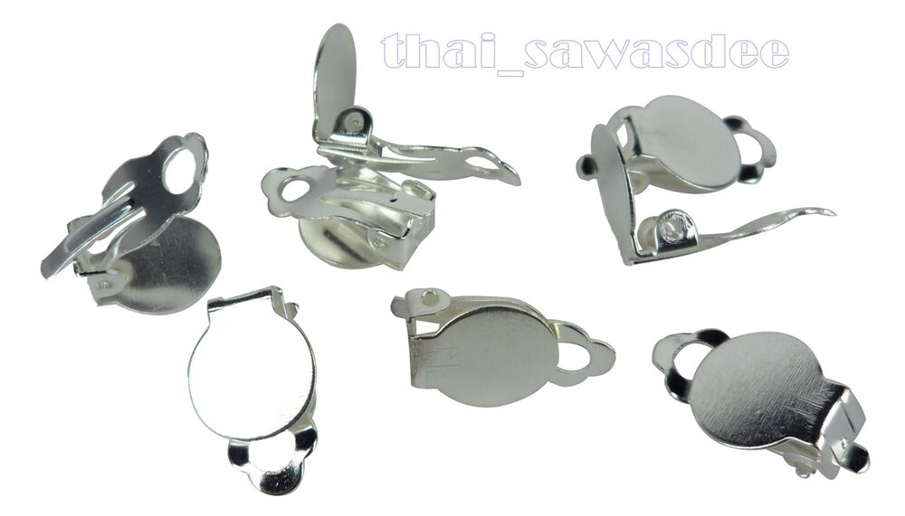 Silver plated earring clip base findings supplies craft for Earring supplies for jewelry making