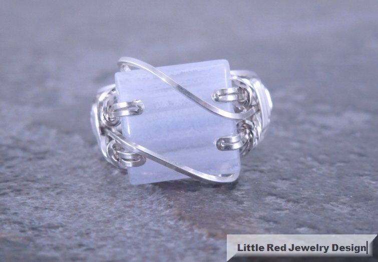 Blue Lace Agate Rings Sterling Silver