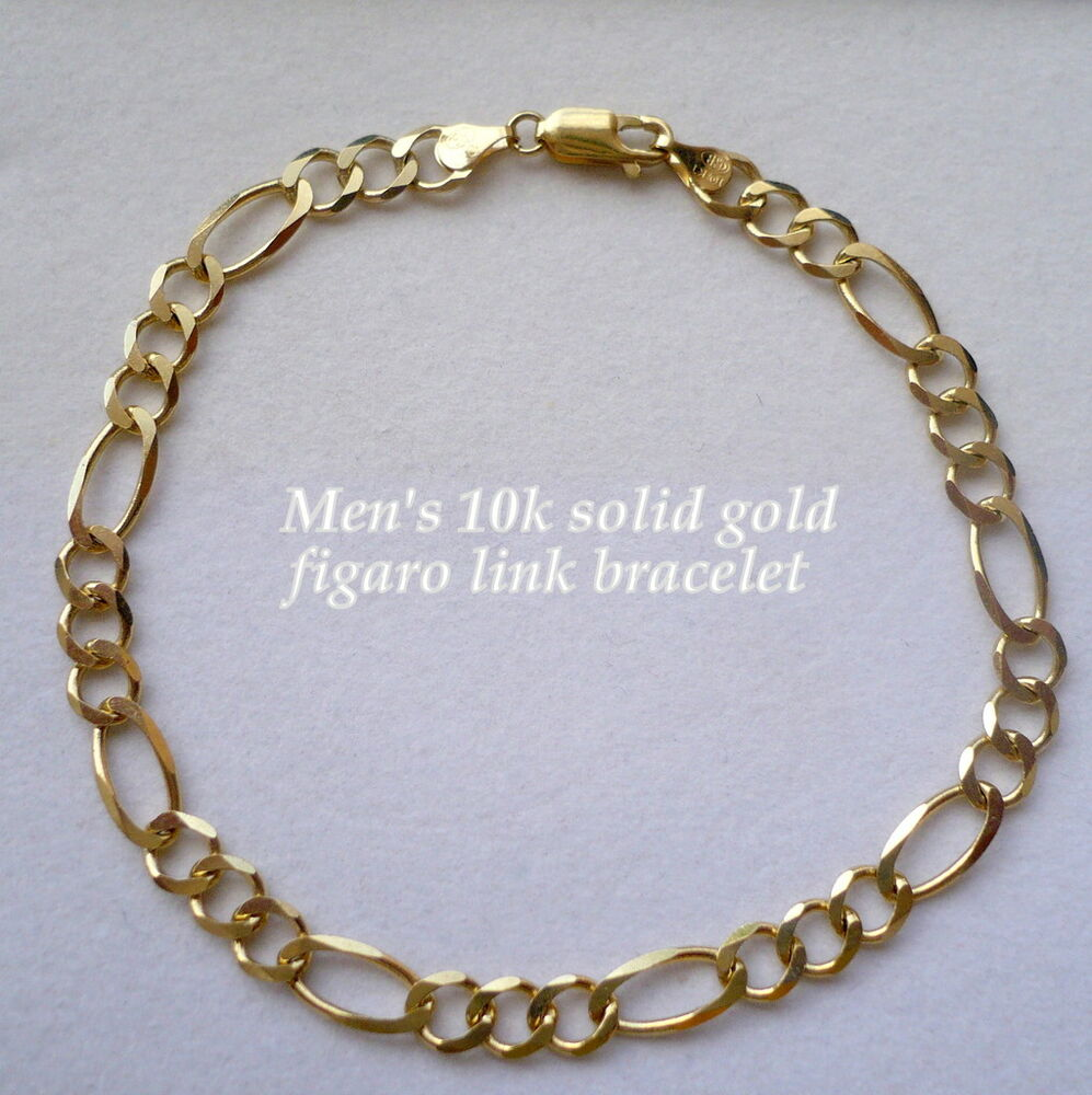 Gold Jewelry Bracelets: 6MM 10K SOLID GOLD MEN'S FIGARO LINK BRACELET Choice Of