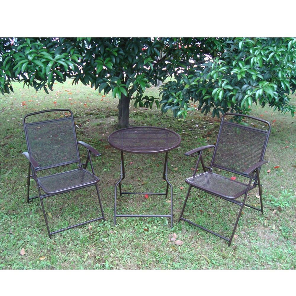 Bistro set patio set 3pc table chairs outdoor furniture wrought iron cafe set ebay Metal garden furniture sets