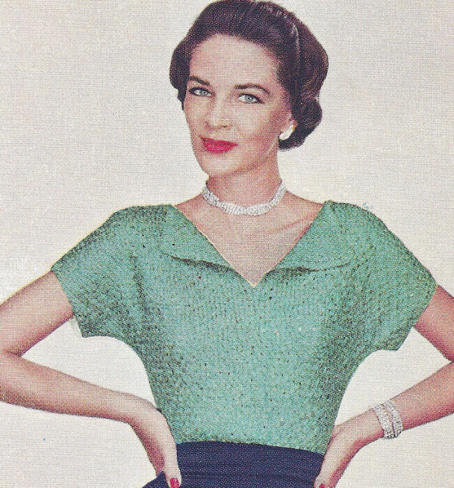 Vintage Knitting PATTERN Reversible Knitted Ribbon Evening Suit Blouse Top ...