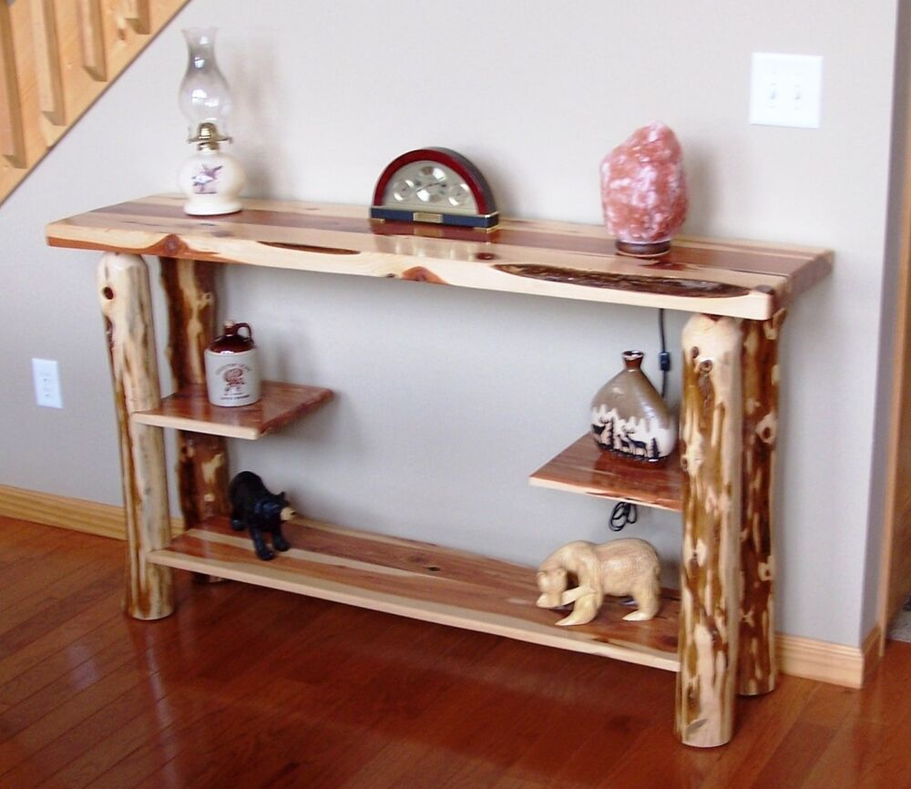 Sofa table rustic red cedar hancrafted log furniture