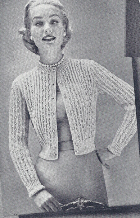 Vintage Knitting PATTERN Knitted Beaded Cardigan Sweater Knit Shortie Jacket ...