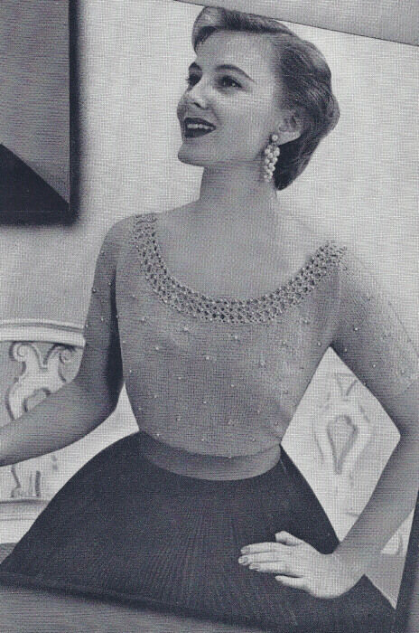 Old Knitting Pictures : Vintage knitting pattern knitted scoop neck beaded blouse