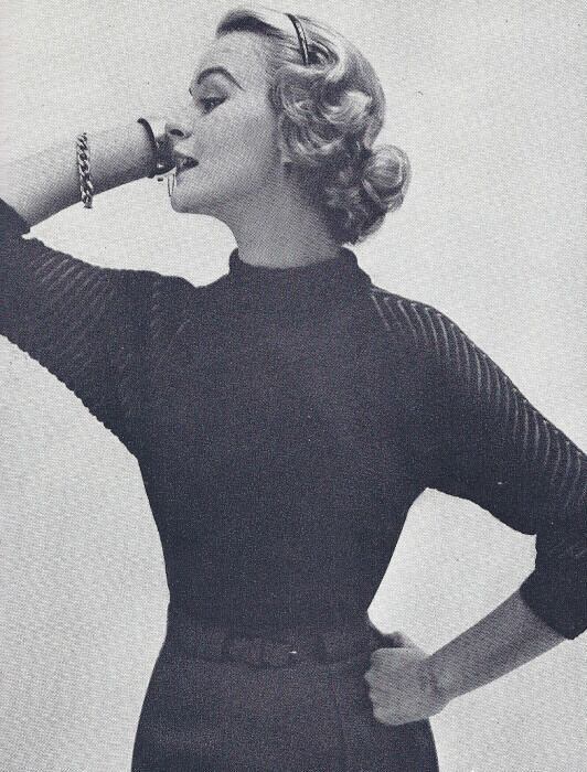 Knitting History Facts : Vintage knitting pattern knitted raglan sleeved ribbed