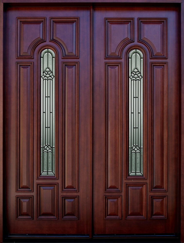 Mahogany 8ft exterior double door pre hung finished for Double hung exterior french doors