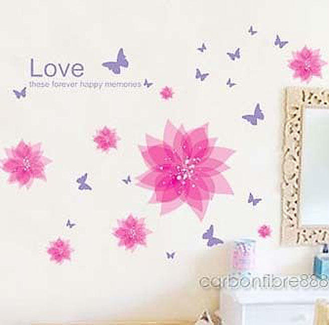90 X 22 Large Vine Butterfly Wall Decals Removable: PINK/PURPLE BUTTERFLY FLOWER Wall Stickers REMOVABLE Decor