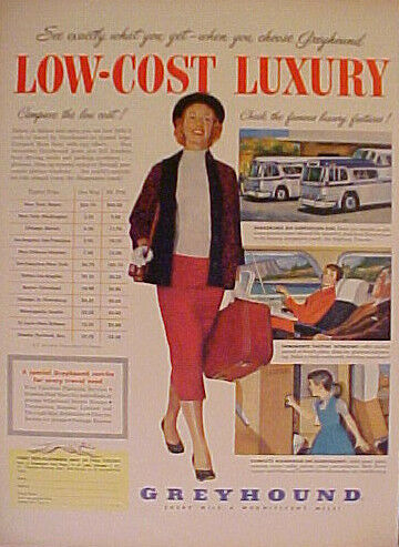 1955 GREYHOUND BUSES LOW~COST LUXURY BUS TRAVEL~Compare ...