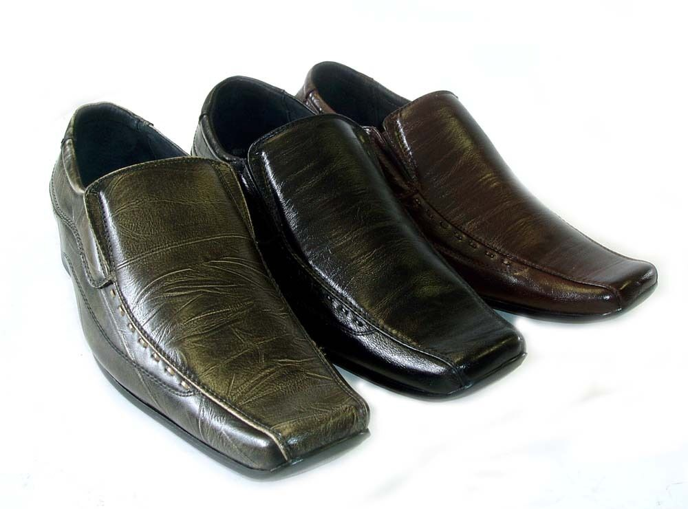 new mens leather dress shoes loafers slip on comfort free shoe horn 3 colors ebay