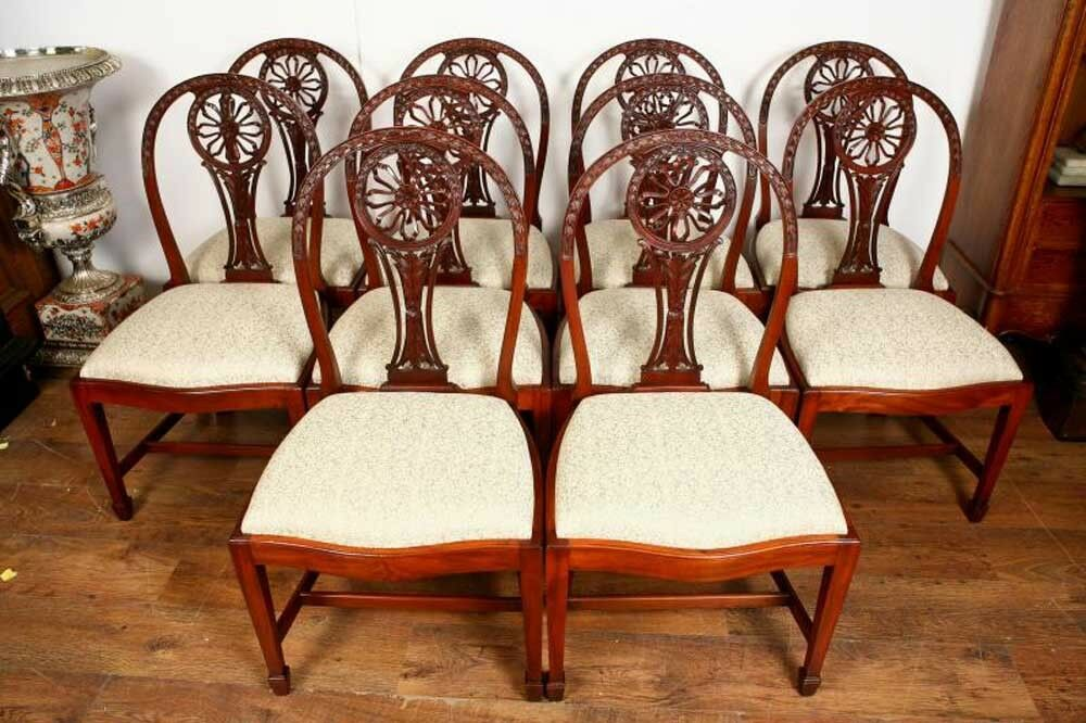 10 mahogany hepplewhite dining chairs carved wheel back ebay for Antique dining room chairs