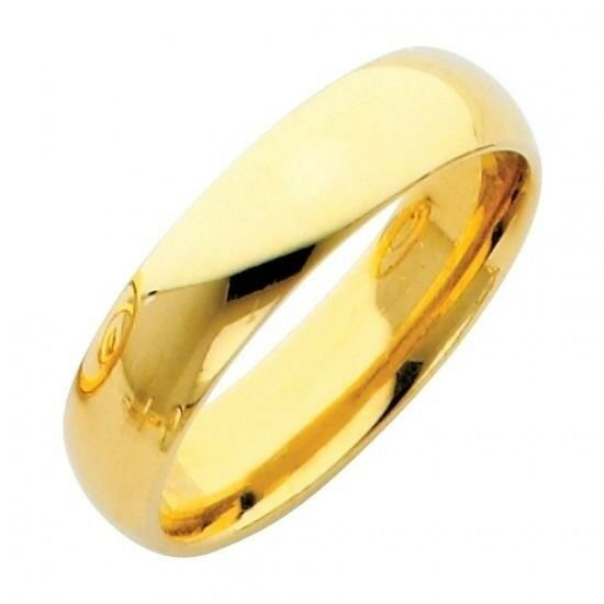 5mm Plain Comfort Fit 14k Solid Yellow Gold Wedding Band