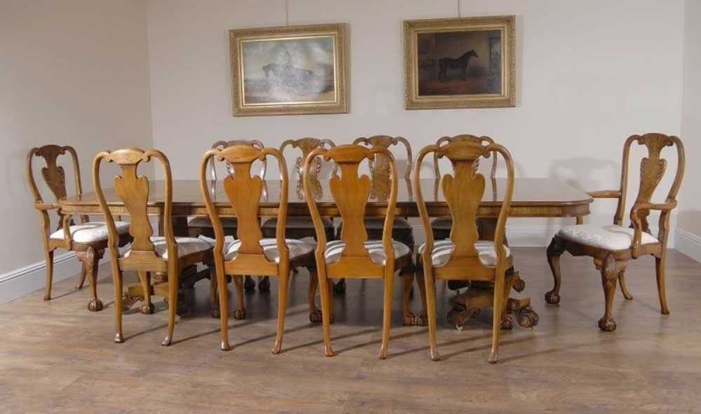 Georgian Walnut Dining Table 10 Queen Anne Chairs Dining Set Furniture