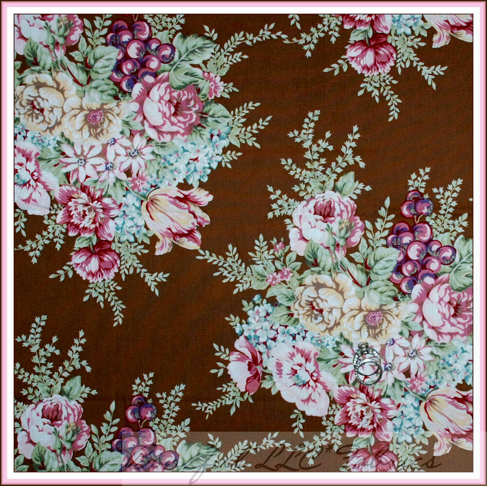 Boneful fabric fq cotton quilt vtg brown cream pink flower for Victorian floral fabric