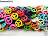 Mix Color Howlite Turquoise Carved 15mm Peace Sign Spacer Beads 16 Inches Strand