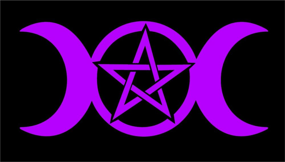 Wicca Pagan Witch Decal Triple Moon Goddess Pentacle Car Vinyl Altar