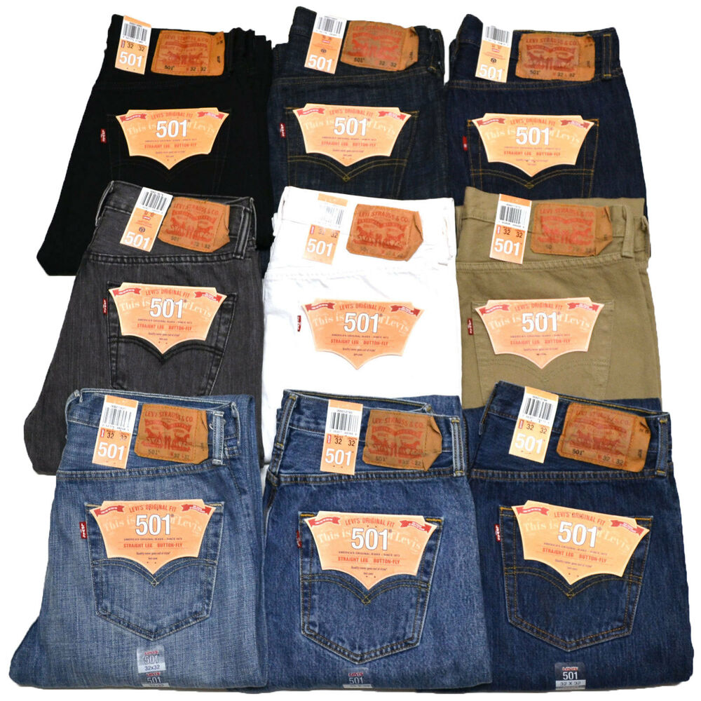 levis 501 jeans button fly mens denim stonewashed w30 w32. Black Bedroom Furniture Sets. Home Design Ideas