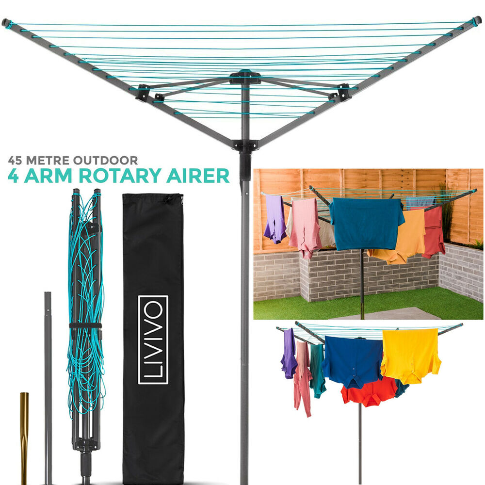 livivo 4 arm rotary airer garden washing line clothes. Black Bedroom Furniture Sets. Home Design Ideas