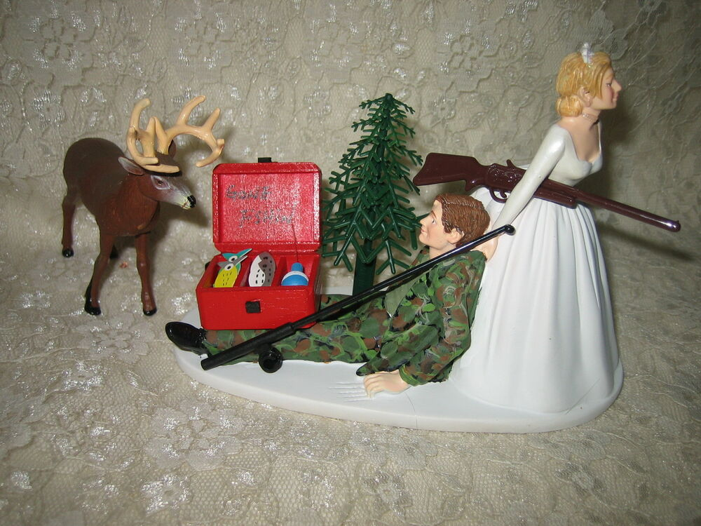 redneck deer fishing hunting wedding cake toppers wedding reception fishing fisherman pole amp buck deer 19131