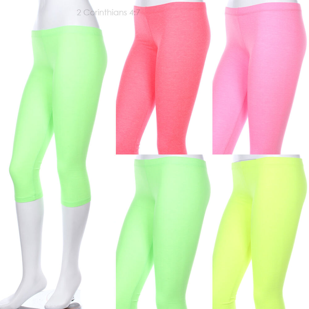 Capri Leggings Neon Color Plain Solid Cotton Just Below ...