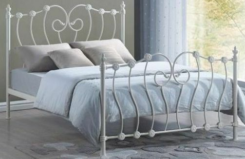 Inova 5ft kingsize ivory victorian style metal bed frame for Gothic style beds for sale