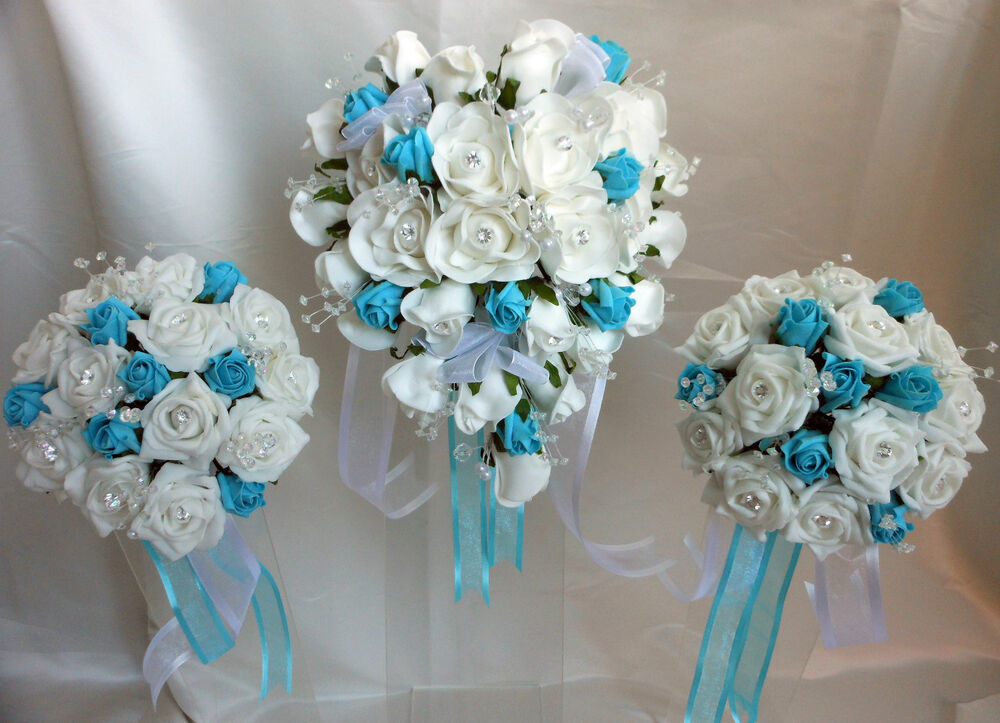 White & Turquoise Rose Heart Shaped Wedding Bouquet Set