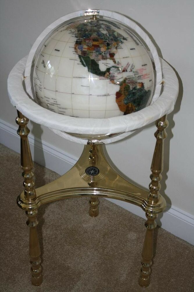 of pearl gemstone globe with gold floor stand new