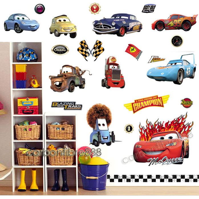 Large disney cars wall stickers boys lightning mcqueen for Cars wall mural sticker