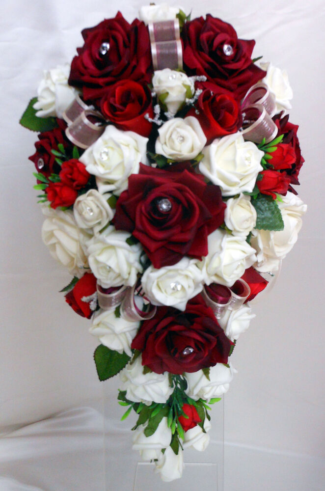 hobby lobby wedding flowers teardrop wedding bouquet white and burgundy roses ebay 4823