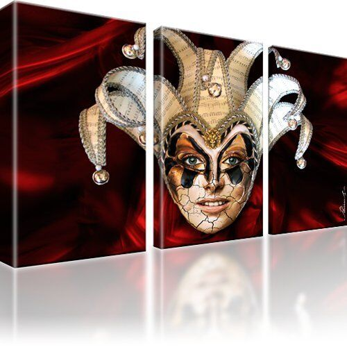 joker maske abstrakt bilder auf leinwand digitalart dreiteilig ebay. Black Bedroom Furniture Sets. Home Design Ideas