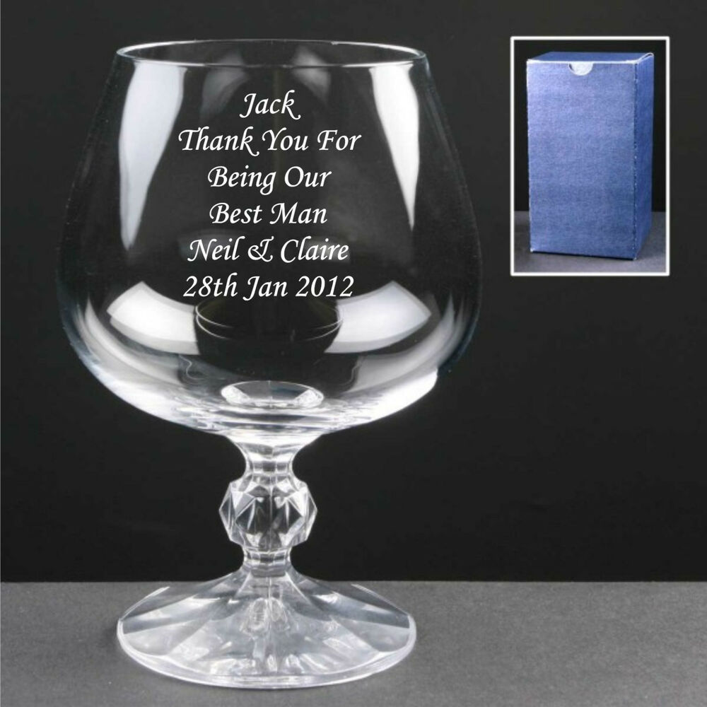 Best Wedding Gifts: Personalised Engraved Brandy Glass, Usher Gifts, Wedding