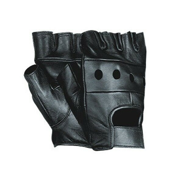 MENS LEATHER FINGERLESS DRIVING MOTORCYCLE BIKER GLOVES ...