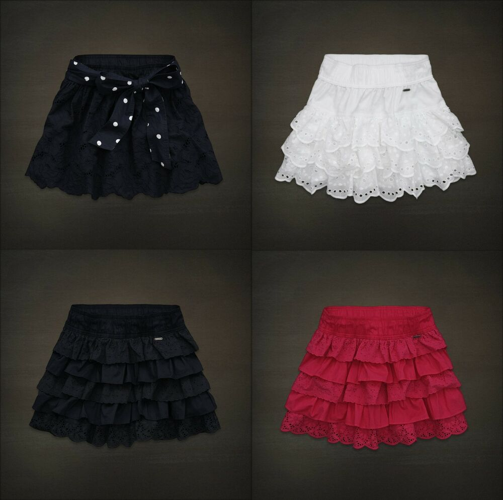 hollister womens lace mini skirt tiered eyelet ruffle