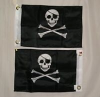 "Pirate Flag Double Sided 12"" x 18"" Jolly Roger Flag w Patch Boat Flag Motorcycle"