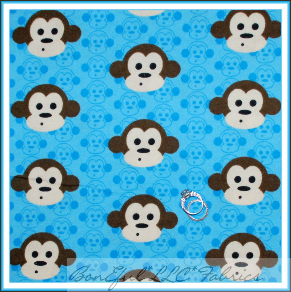 Boneful fabric fq cotton quilt flannel blue baby boy for Nursery monkey fabric
