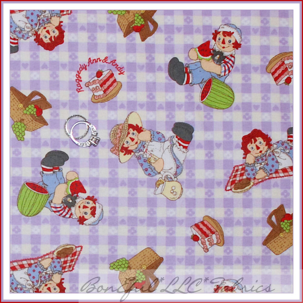 Boneful fabric fq flannel baby girl raggedy ann andy for Retro baby fabric
