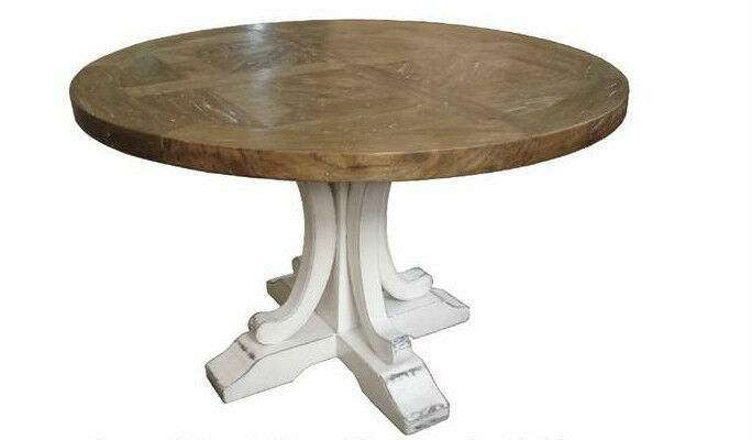 French Provincial Rustic Elm Wood Round Dining Table White