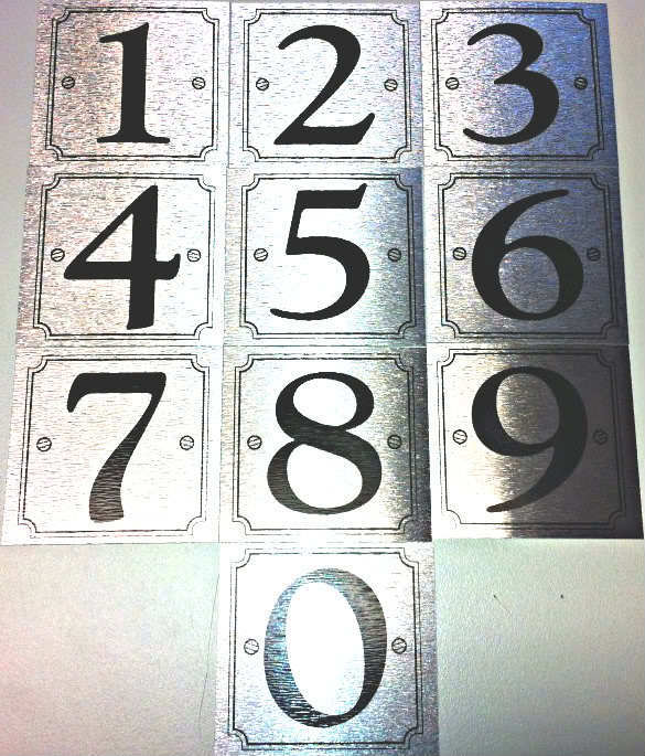 Self adhesive silver door numbers house number 0 9 for Self adhesive house numbers and letters