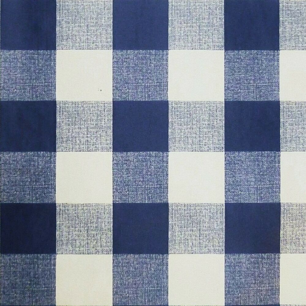 Navy Blue White Pvc Tablecloth 1 Quot Gingham Fabric Per