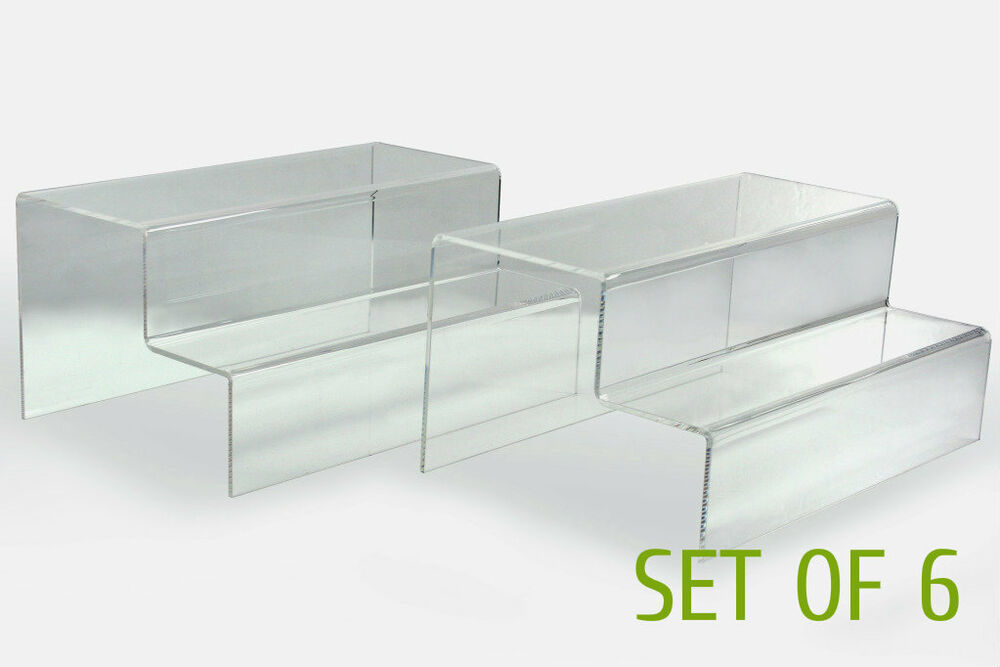 6 X Clear Glossy Acrylic 2 Tier Step Display Riser Stand